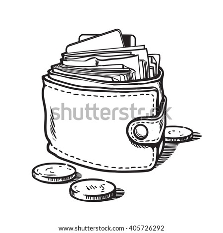 Wallet with money and credit cards Sketch of wallet full of cash Wallet with dollar bills and coins Hand drawn vector illustration isolated on white background - stock vector