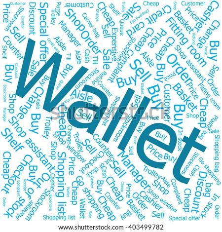 wallet,Word cloud art background - stock vector
