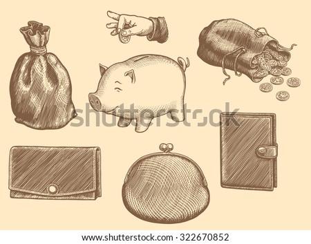 Wallets and Piggy banks. Design set. Hand drawn engraving. Vector vintage illustration. 8 EPS - stock vector