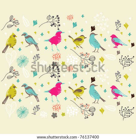 wallpaper - best card design with bird - vintage cover - hand-drawn and very high quality - stock vector