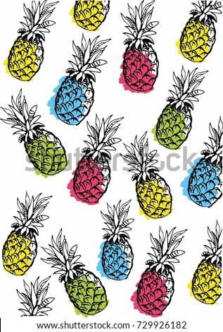 Wallpaper Colorful Pineapple Hand Draw Background Texture