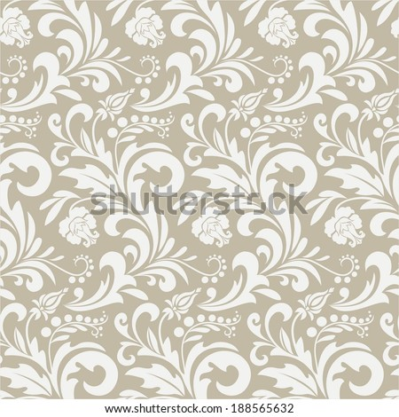 Wallpaper in the style of Baroque. A seamless vector background. Beige and white texture. - stock vector