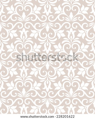 Wallpaper in the style of Baroque. A seamless vector background.Damask floral pattern. - stock vector