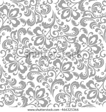 Wallpaper in the style of Baroque. A seamless vector background. Gray and white texture. Floral ornament. Graphic modern pattern.
