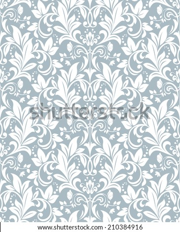 Wallpaper in the style of Baroque. A seamless vector blue background. Damask floral pattern. - stock vector