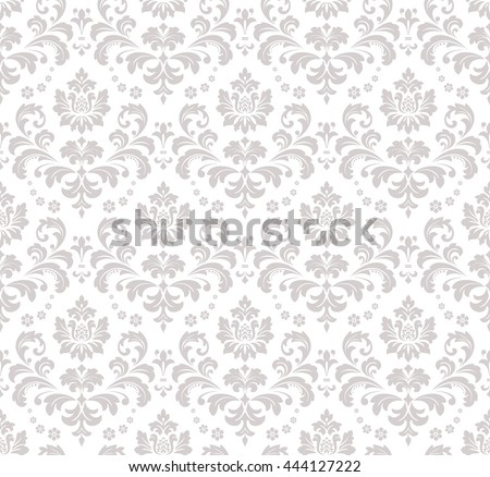 Wallpaper in the style of Baroque, damask. A seamless vector background. Gray and white ornament. Stylish graphic pattern.