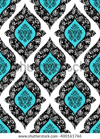 Wallpaper in the style of Baroque. Seamless paisley, vector indian floral ornament background, damask pattern. Boho apparel art, design back for fabric, papper and more.