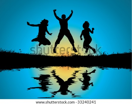 wallpaper jumping reflection in the water vector