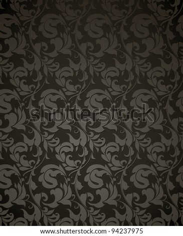 Wallpaper pattern black, seamless vector - stock vector