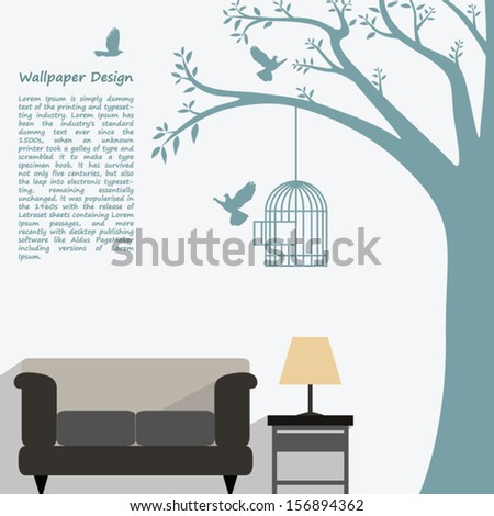 wallpaper pattern design of natural form for interior decorated - stock vector