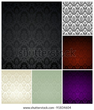 Wallpaper pattern set, six color - stock vector