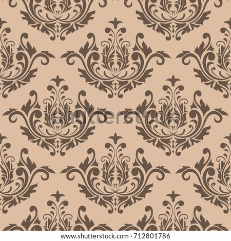 Wallpaper seamless pattern. Ornamental brown beige background. Vector illustration