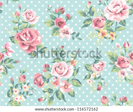 wallpaper seamless vintage pink flower pattern on brown background - stock vector