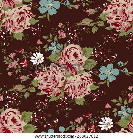 wallpaper seamless vintage pink flower pattern on brown background - stock vector