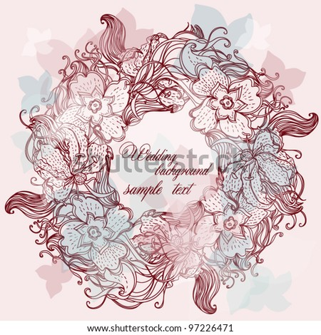 Wallpaper, Stylish circle Vector Wedding Background Frame lace-like vintage - stock vector