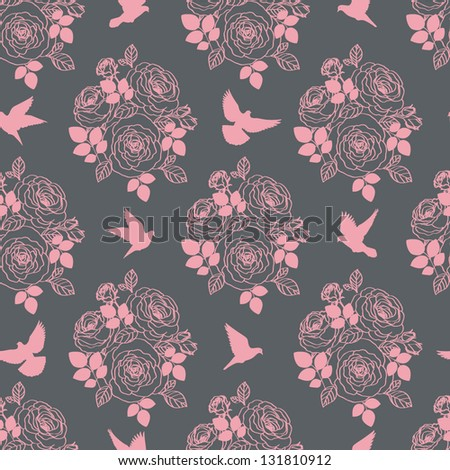 Wallpaper with birds and flowers - stock vector