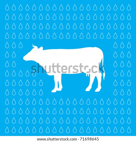 wallpaper with cow & milk drops - stock vector