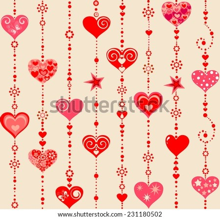 Wallpaper with funny hanging hearts - stock vector