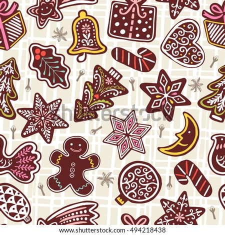 Wallpaper with gingerbread cookies on white background. Seamless Christmas vector pattern