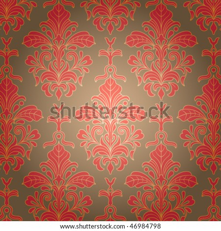 Wallpaper with red ornament. Vector illustration - stock vector