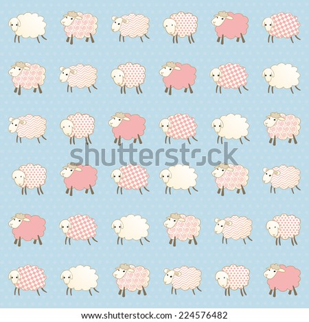 wallpaper with white caps on a blue background - stock vector