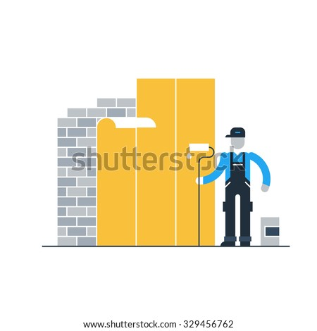 Wallpaper worker - stock vector