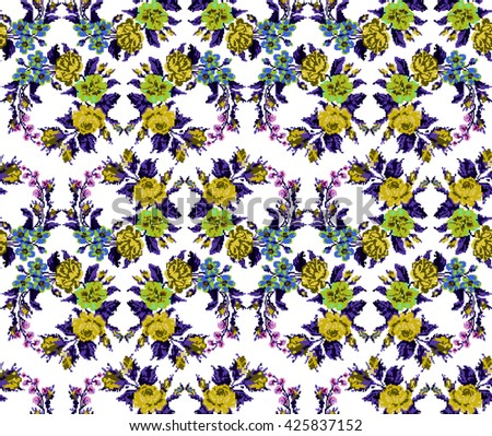 Wallpapers or textile. Color circle  bouquet of flowers (roses, chamomile and cornflowers) using Ukrainian embroidery elements.  Yellow, blue, green and violet tones. Seamless. Pattern. Pixel-art. - stock vector