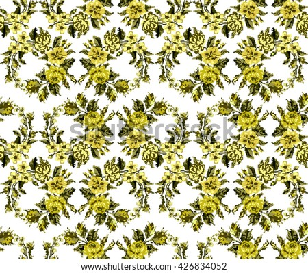 Wallpapers or textile.  Monochromatic yellow circle  bouquet of flowers (roses, chamomile and cornflowers) using traditional Ukrainian embroidery elements. Seamless. Pattern. Can be used as pixel-art. - stock vector