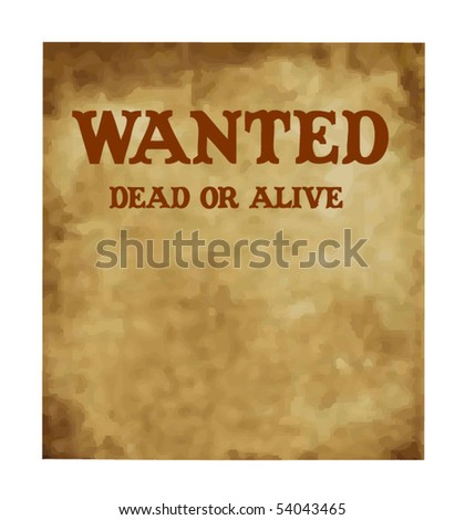 Wanted antique page - stock vector