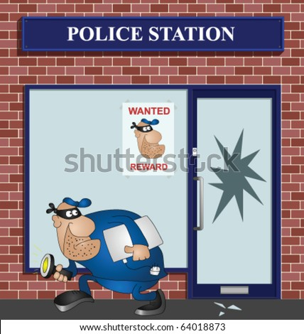 Wanted burglar breaking into a police station - stock vector