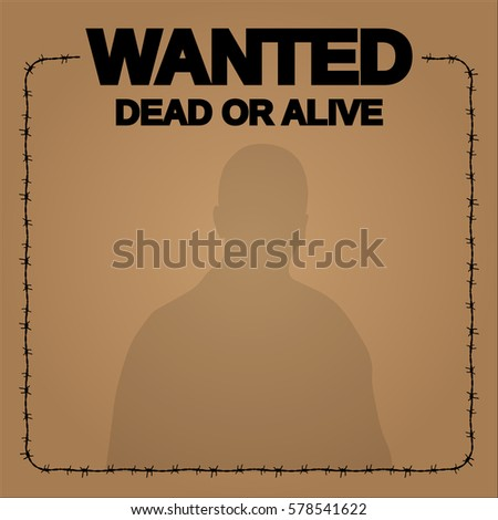 Wanted Frame Barbed Wire Vector Design Stock Vector (2018) 578541622 ...