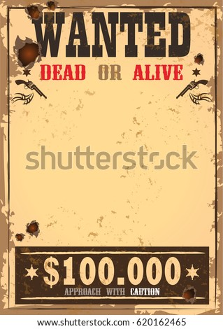 Wonderful Wanted Sign On Old Paper Wild Stock Vector 620162465   Shutterstock