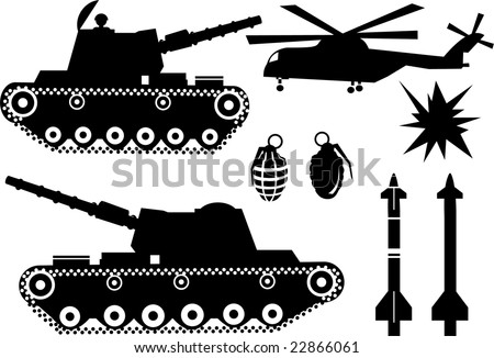 War elements like a war tank, a bomb grenade, missiles, helicopter and explosions - stock vector