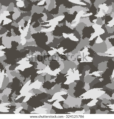 War grey urban camouflage seamless vector pattern. Can be used for wallpaper, pattern fills, web page background, surface textures. Vector illustration - stock vector