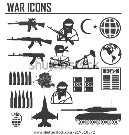 war icon, ISIS and Al Qaeda word vs USA Army , illustration vector sign and symbol - stock vector