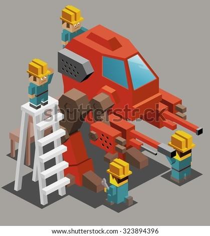 War machine research. Isometric vector illustration - stock vector