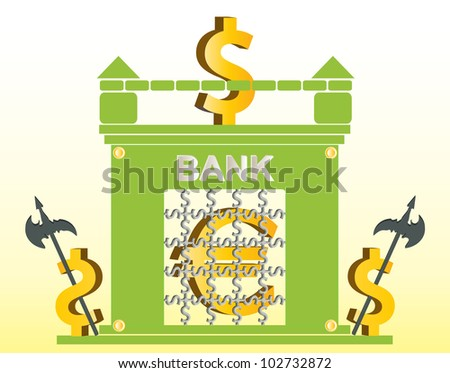 war of the euro and dollar rates - stock vector