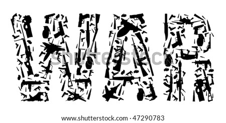 War Text build by weapons in vector art - stock vector
