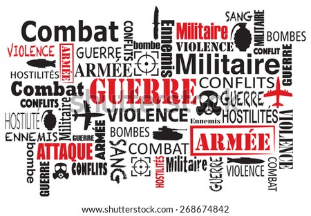 war violence word cloud vector illustration in french - stock vector