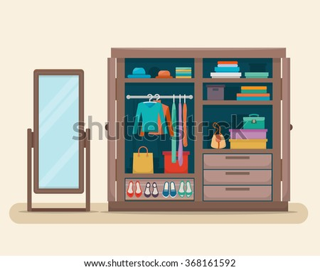 Wardrobe for cloths with mirror. Closet with clothes, bags, boxes and shoes. Flat style vector illustration. - stock vector