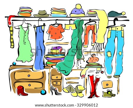 Wardrobe full of woman's cloths. Cartoon lineal style. Vector illustration.