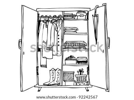 wardrobe with clothes - stock vector