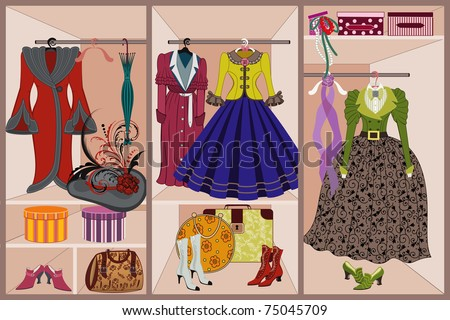 Wardrobe with vintage clothing - stock vector