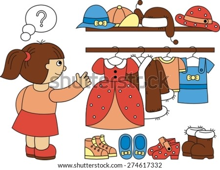 wardrobe with women's clothes, , vector illustration
