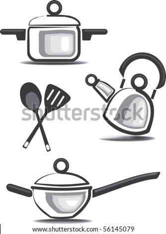Ware and accessories for kitchen icons