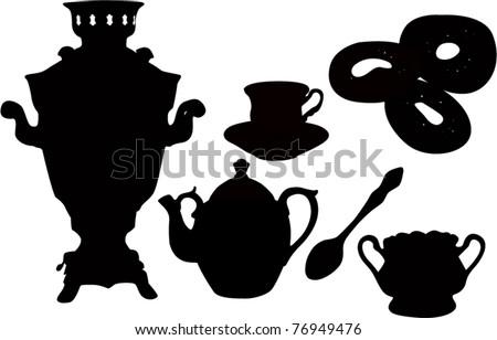 Ware the house tea drinking a samovar a teapot a cup a spoon subjects - stock vector