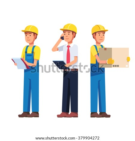 Warehouse and delivery or building worker. Foreman, manager and delivery job. Modern flat style vector illustration isolated on white background. - stock vector