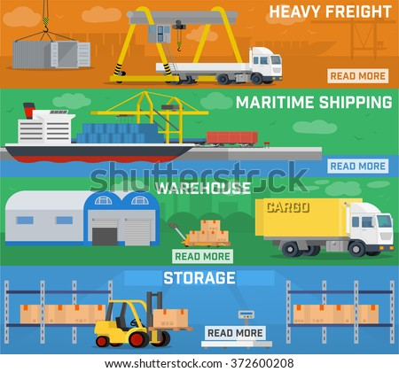 Warehouse Logistics Banner Setcontainer Ship Freight Stock ...