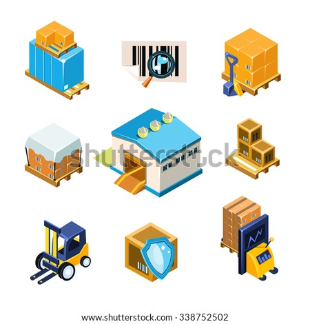Warehouse and Logistics Equipment Icon Set. Vector Illustration Collection - stock vector