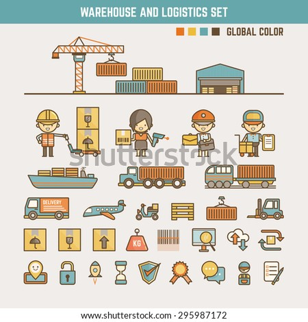 warehouse and logistics infographic elements for kid including characters and icons - stock vector